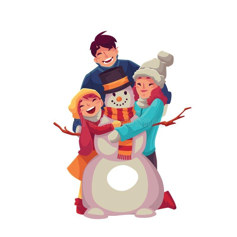 Portrait de famille du père, de la mère et de la fille faisant un bonhomme de neige illustration libre de droits