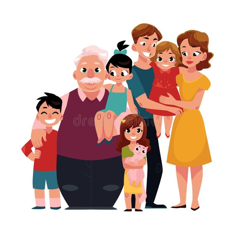 Portrait de famille - parents, enfants, grand-père, étreindre de petits-enfants illustration de vecteur