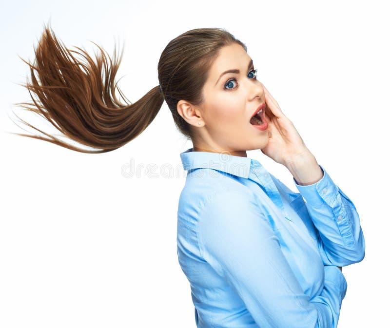 Portrait de femme étonnante d'affaires D'isolement sur le backgr blanc images stock