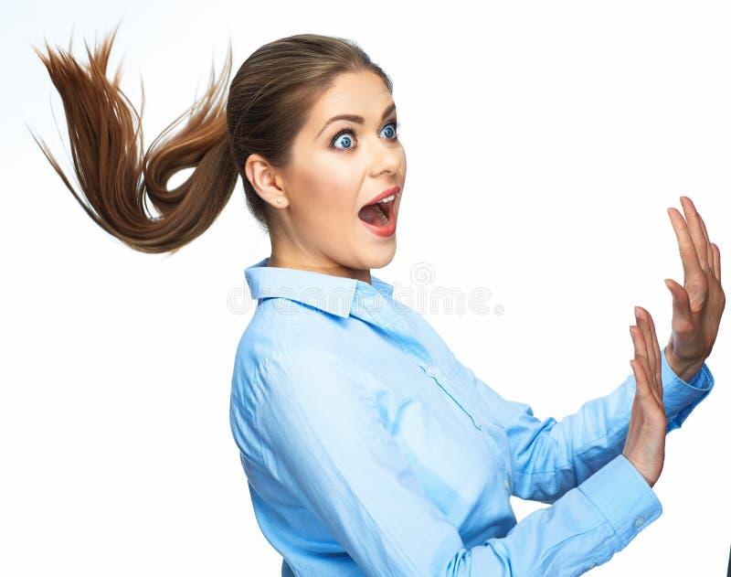 Portrait de femme étonnante d'affaires D'isolement sur le backgr blanc image libre de droits