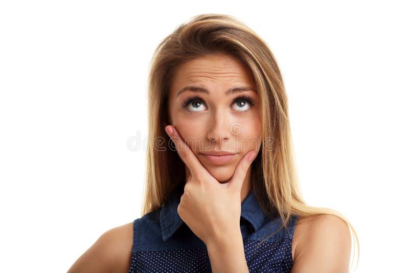 Portrait de femme adulte au-dessus du fond blanc images stock