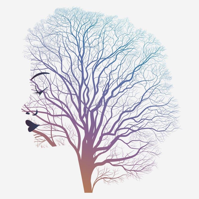 Portrait de femme avec la double exposition, le visage et l'arbre illustration de vecteur