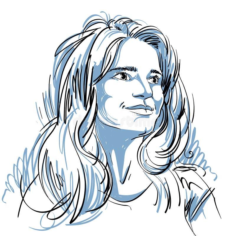 Portrait de femme belle perplexe sensible, noir et blanc illustration stock