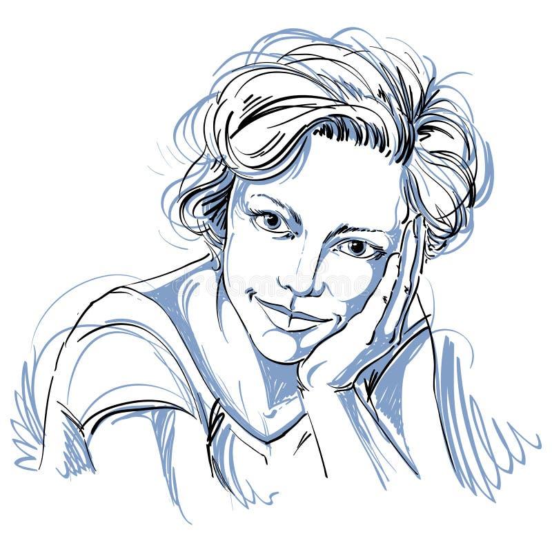 Portrait de femme belle rêveuse sensible, noir et blanc illustration libre de droits