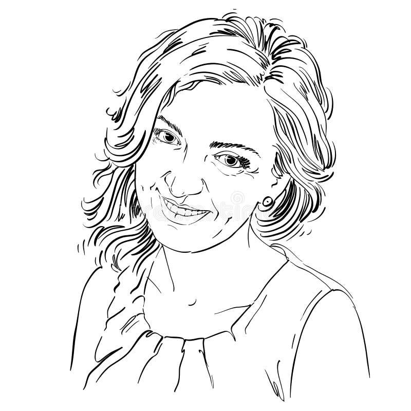 Portrait de femme belle sensible, vecteur noir et blanc illustration libre de droits