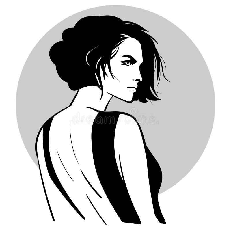 Portrait de femme de coiffure de Bob beau dans la robe noire de dos nu Regard au-dessus de son épaule Vecteur Rebecca 36 illustration libre de droits