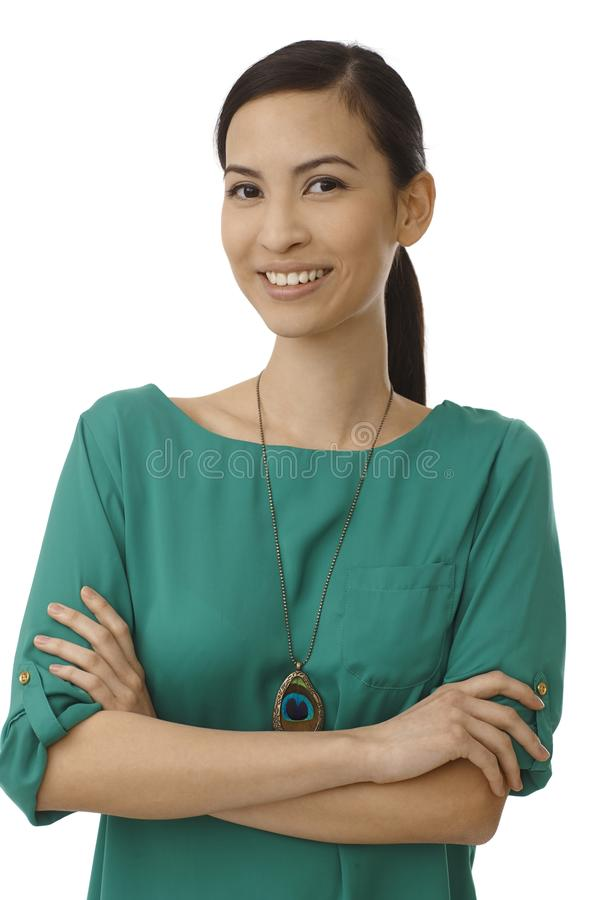 Portrait de femme d'affaires asiatique heureuse images libres de droits