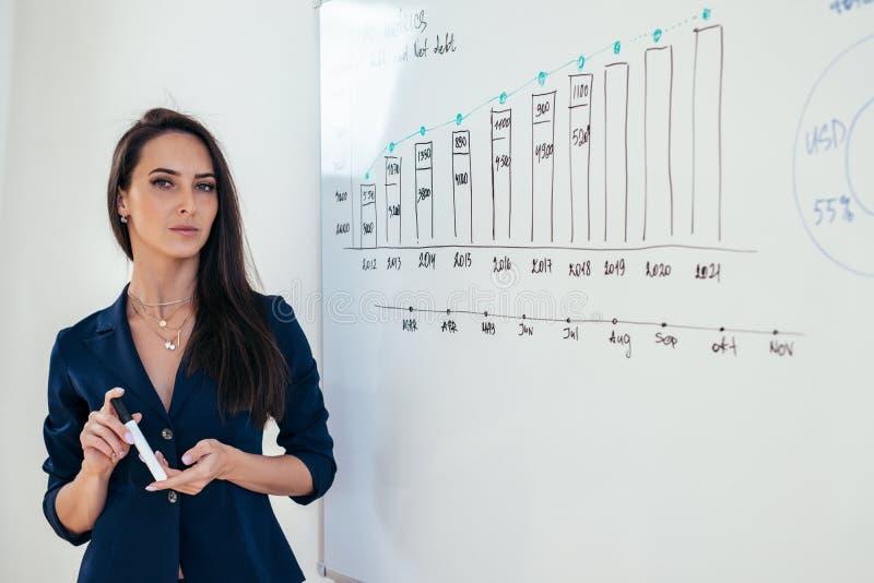 Portrait de femme d'affaires devant le tableau blanc photos libres de droits