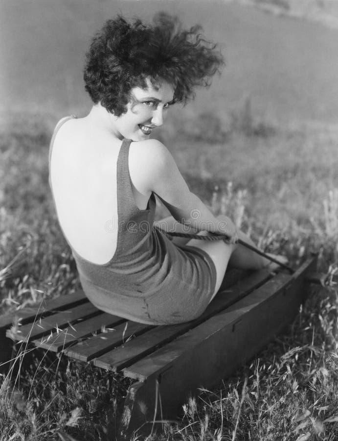 Portrait de femme dans le maillot de bain photographie stock