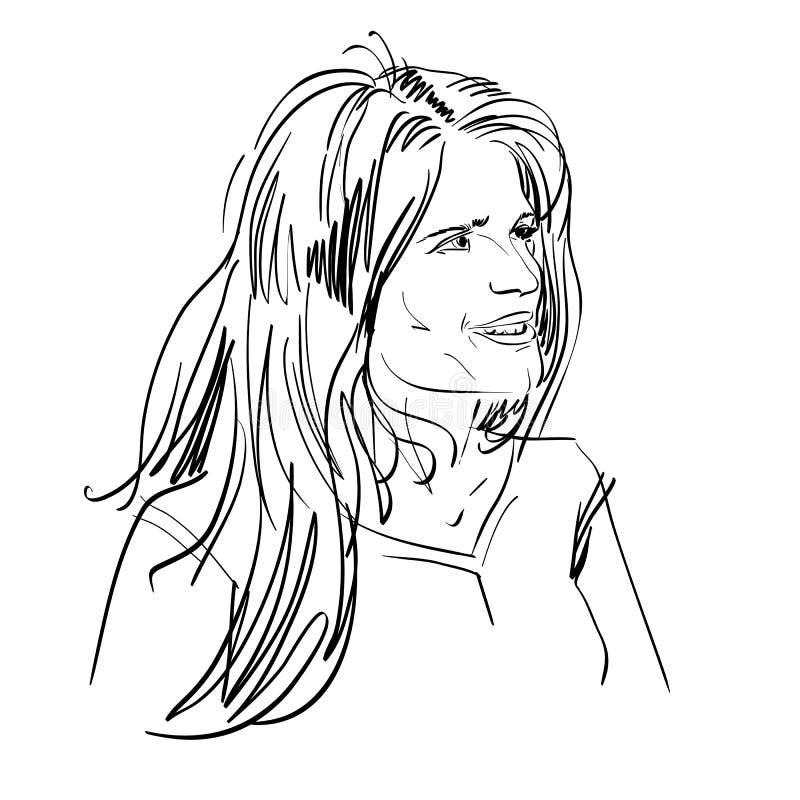Portrait de femme de flirt belle sensible, de noir et de petit morceau illustration libre de droits