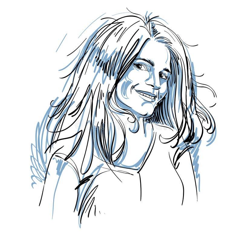 Portrait de femme de flirt belle sensible, de noir et de petit morceau illustration stock