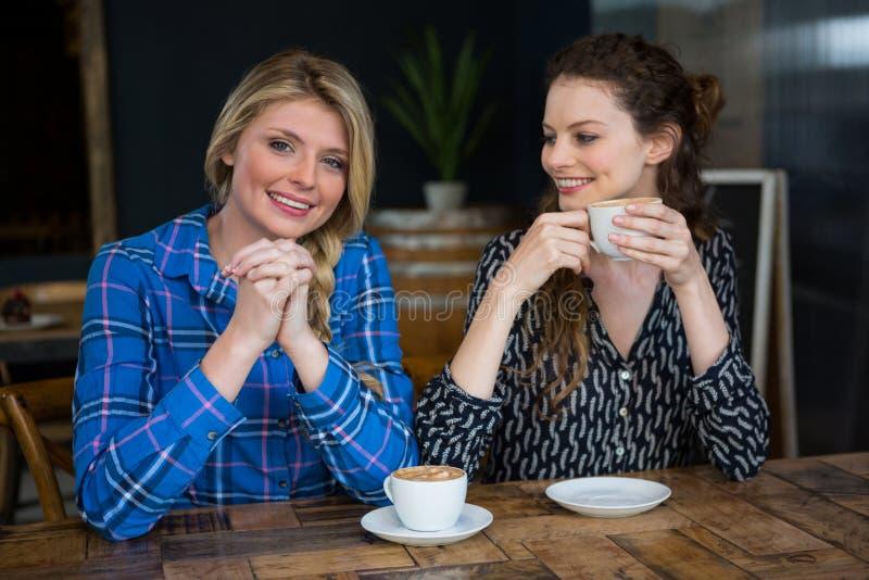 Portrait de femme de sourire avec l'ami ayant le café en café images stock