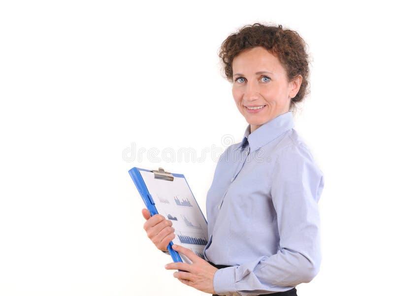 Portrait de femme de sourire d'affaires avec le dossier de papier photos libres de droits