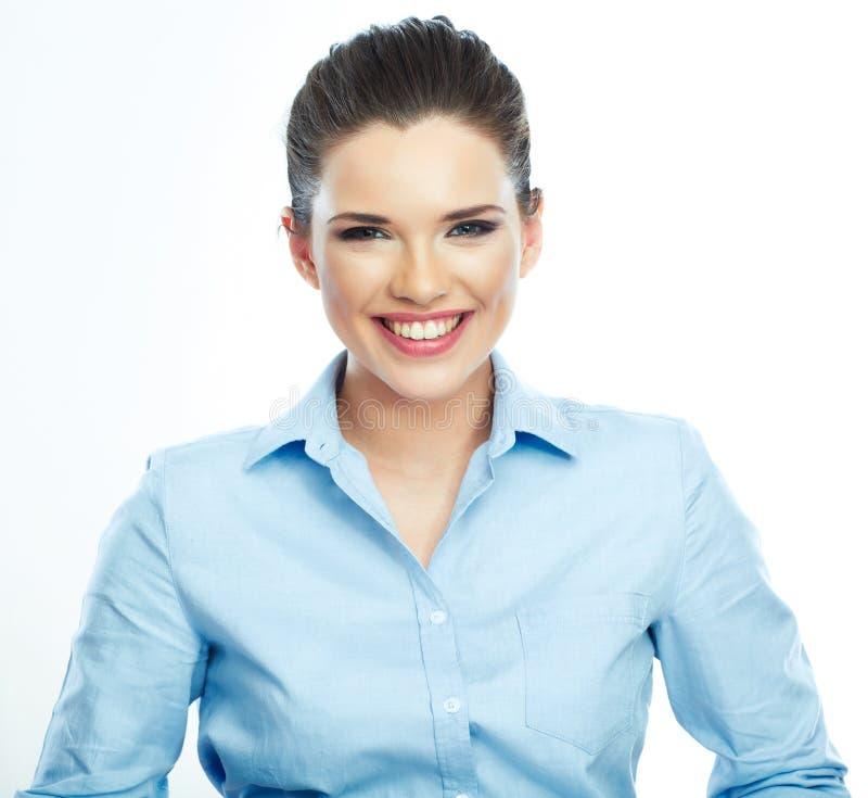Portrait de femme de sourire d'affaires, d'isolement photos stock