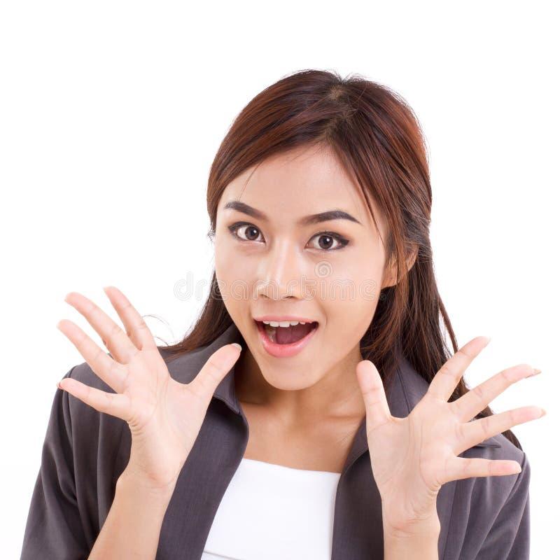 Portrait de femme heureuse, étonnée, sortie, positive d'affaires photos libres de droits