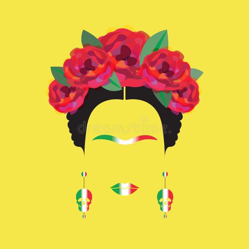 Portrait de femme mexicaine minimaliste de Frida Kahlo avec des crânes des boucles d'oreille et des fleurs rouges, drapeau mexica illustration libre de droits