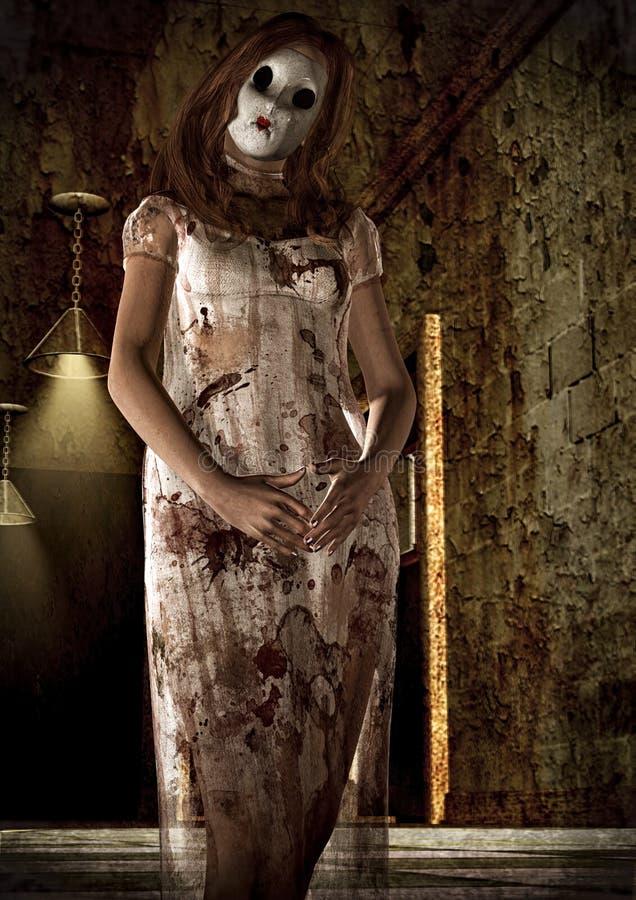 Portrait de femme de psychopathe-tueur avec un masque illustration stock