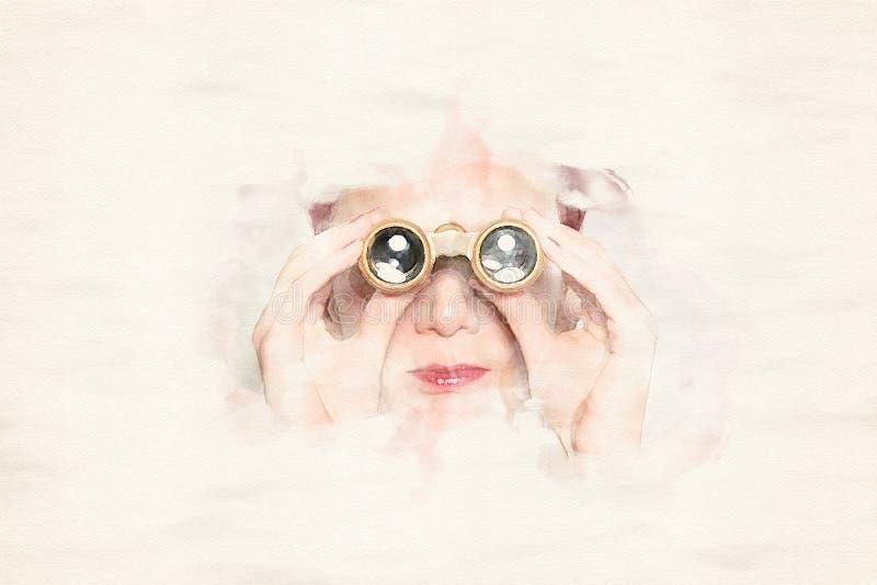 Portrait de femme regardant par des jumelles illustration de vecteur
