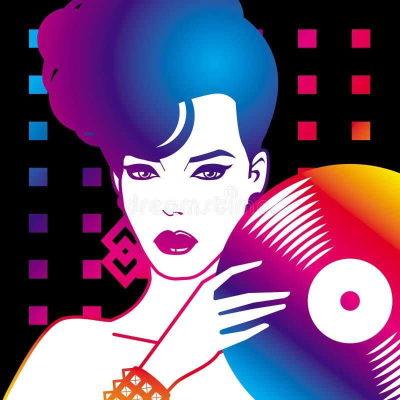 Femme avec du vinyle illustration libre de droits