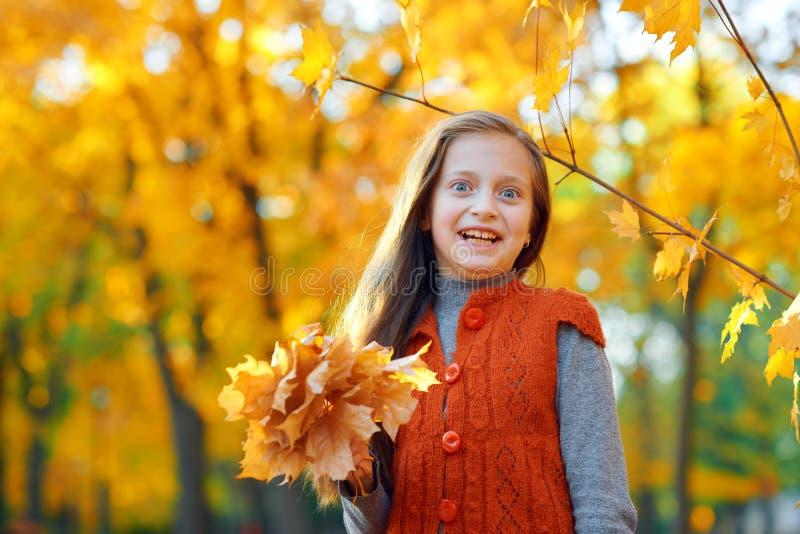 Portrait de fille étonnée même en parc de ville d'automne Pose avec le bouquet des feuilles jaunes Lumière du soleil lumineuse et photo libre de droits