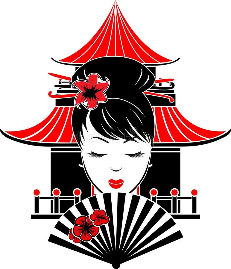 Portrait de fille asiatique illustration stock