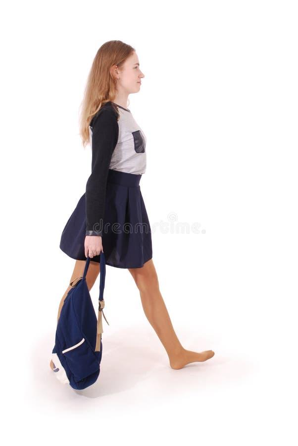 Portrait de fille d'adolescent avec le sac à dos d'école images libres de droits