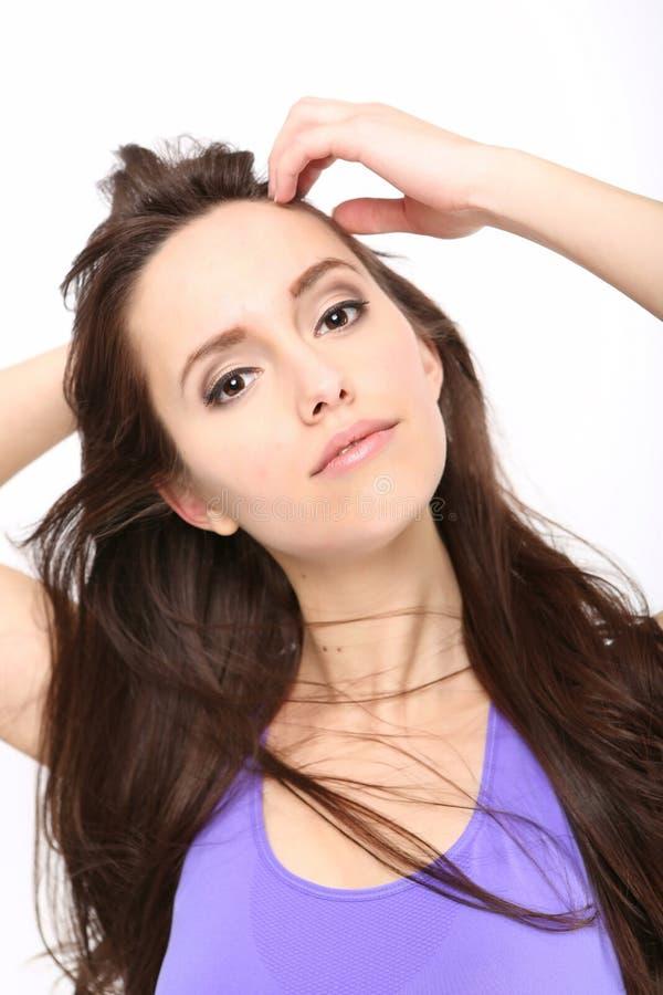 Portrait de fille de beauté avec de longs cheveux photo stock