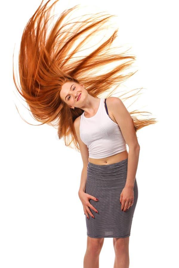 Portrait de fille de beauté Long cheveu rouge sain Beau jeune Wom photographie stock libre de droits