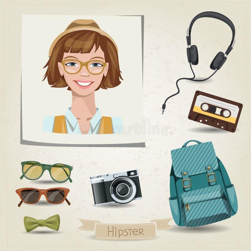 Portrait de fille de hippie avec ses accessoires illustration libre de droits