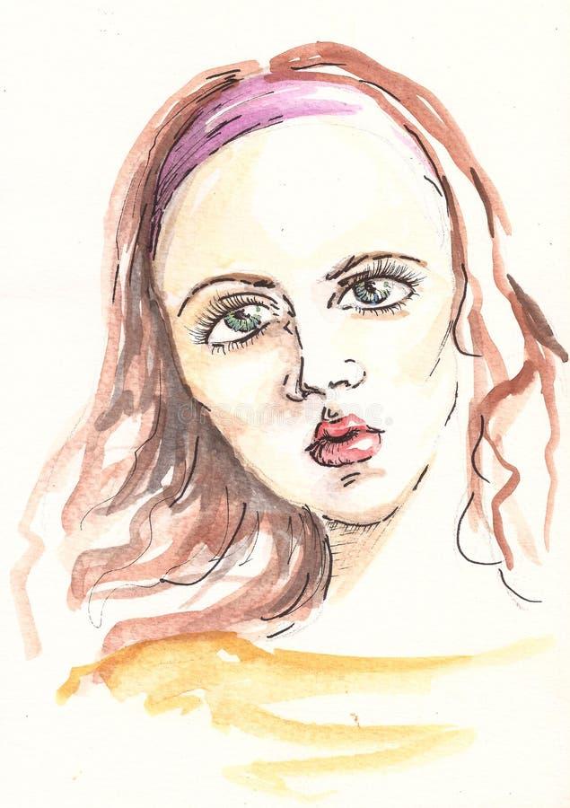 Dessin De Portrait De Fusain Visage Fatigué Avec Le Croquis