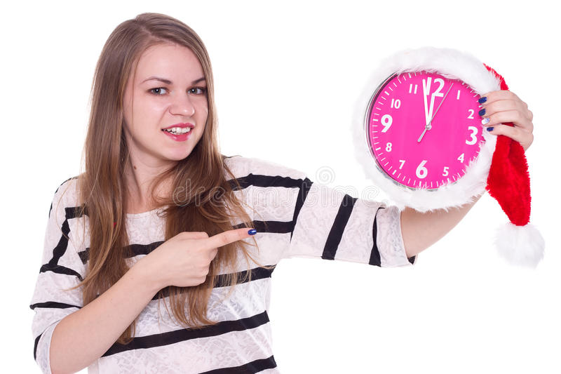 Portrait de fille de Santa avec l'horloge Fond blanc image stock