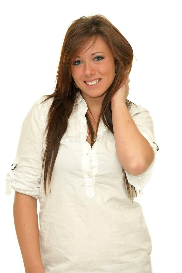 Portrait de fille de sourire heureuse avec de longs poils photographie stock