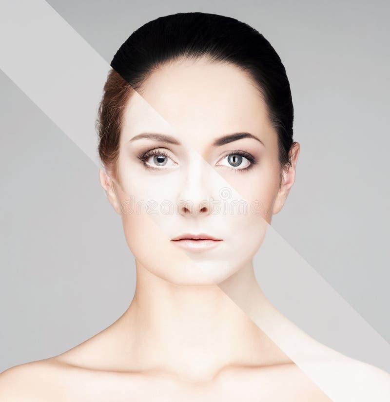 Portrait de fille fraîche, jeune et belle dans le maquillage et le concept de cosmétiques photos libres de droits