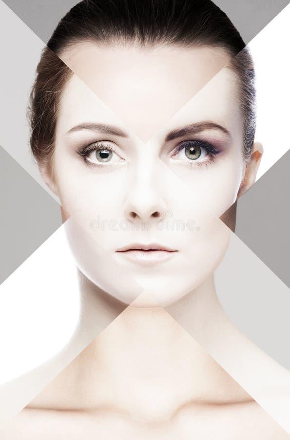 Portrait de fille fraîche, jeune et belle dans le maquillage et le concept de cosmétiques photo libre de droits