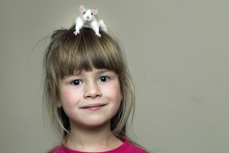 Portrait de fille mignonne drôle de sourire heureuse d'enfant avec le hamster blanc de souris d'animal familier sur la tête sur l photographie stock libre de droits