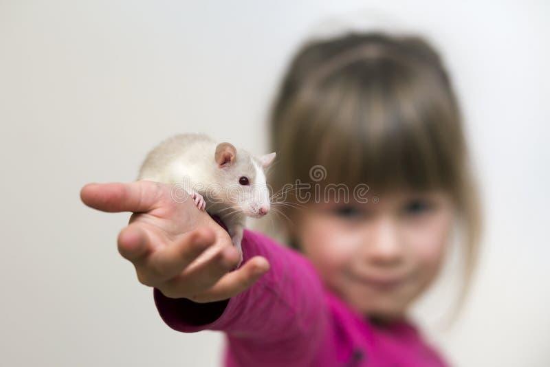 Portrait de fille mignonne de sourire heureuse d'enfant avec le hamster blanc de souris d'animal familier sur le fond clair de l' photos libres de droits