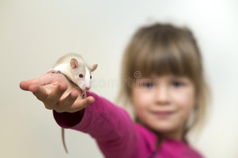Portrait de fille mignonne de sourire heureuse d'enfant avec le hamster blanc de souris d'animal familier sur le fond clair de l' photos stock
