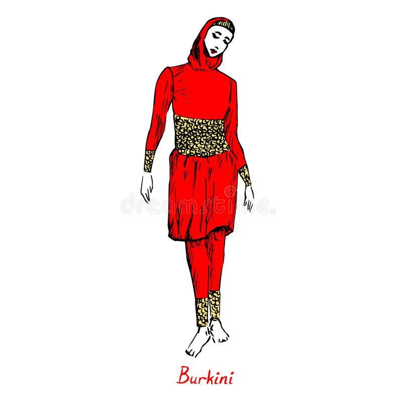 Portrait de fille musulmane dans le type rouge de burkini de maillot de bain avec l'inscription, griffonnage tiré par la main d'e illustration stock