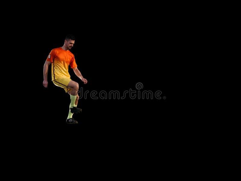 Portrait de footballeur professionnel dans l'unirorm rouge image stock