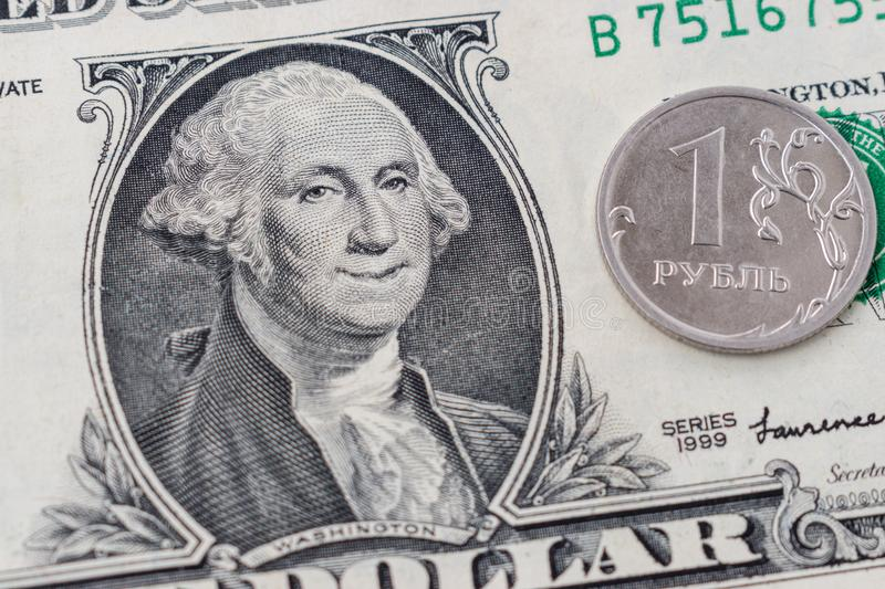 Portrait de George Washington de sourire sur le billet d'un dollar 1 photographie stock