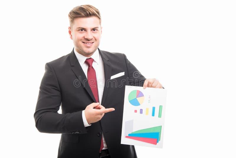 Portrait de graphique de diagramme de pointage d'homme d'affaires image stock