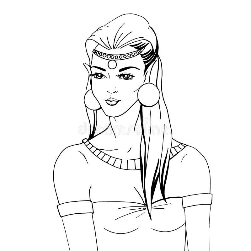 Portrait de griffonnage d'une princesse d'elven illustration libre de droits
