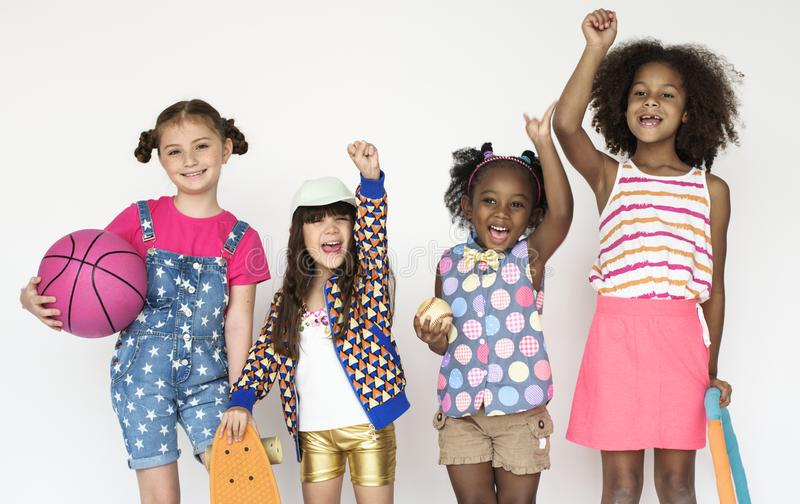 Portrait de groupe d'une bande sportive de fille images libres de droits