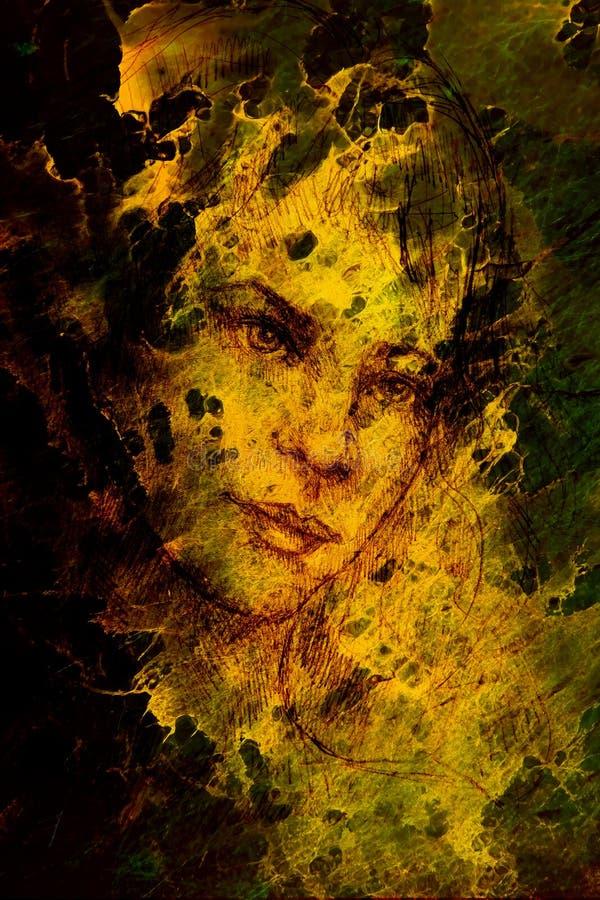 Portrait de Handrawn de jeune femme sur le fond avec l'effet de graphique structuré illustration stock