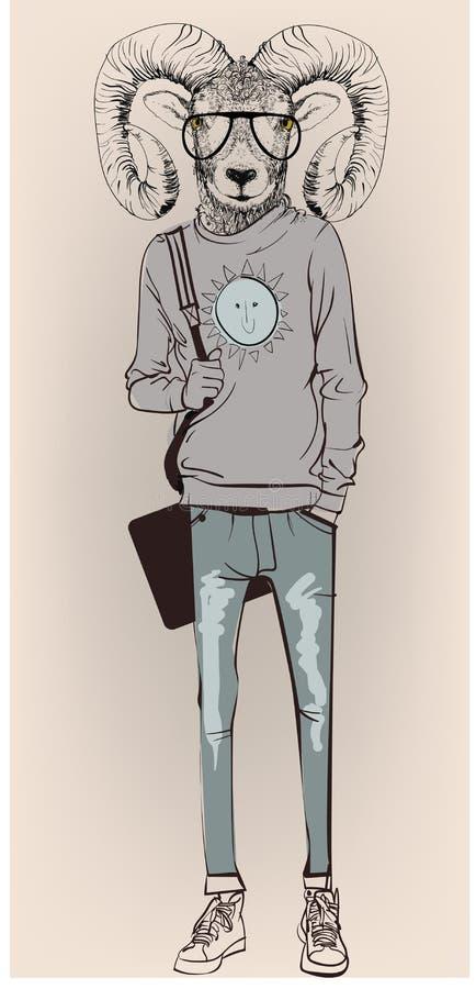 Portrait de hippie de RAM avec des verres illustration libre de droits