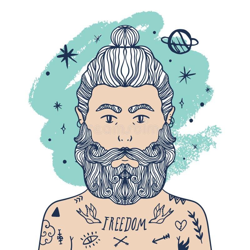 Portrait de hippie occasionnel élégant beau d'homme avec la barbe et les tatouages Illustration de style de griffonnage de croqui photo stock