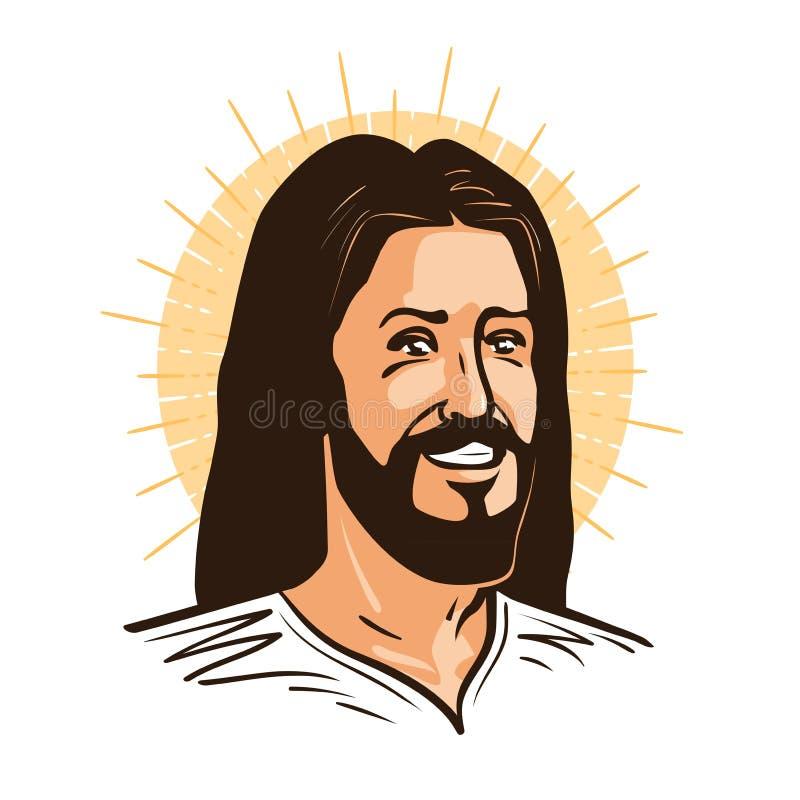 Portrait de Jesus Christ Messiah heureux, christianisme de symbole de Dieu Illustration de vecteur de dessin animé illustration libre de droits