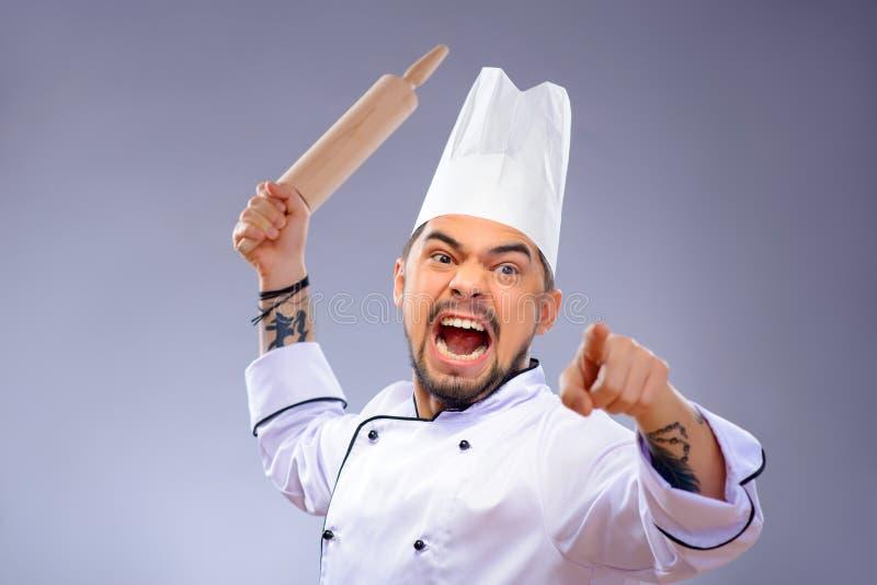 Portrait de jeune cuisinier beau photo stock