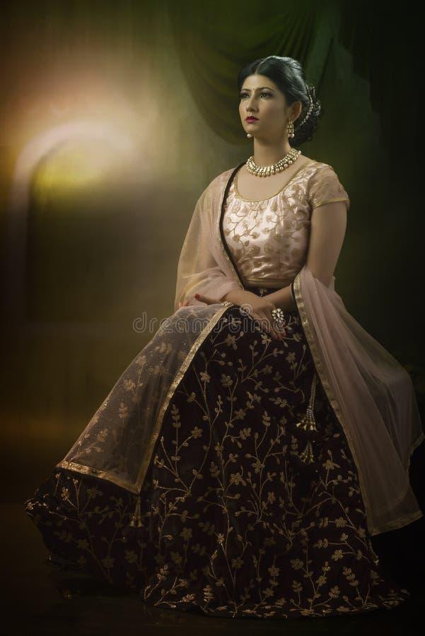 Portrait de jeune dame indienne dans l'usage traditionnel image stock