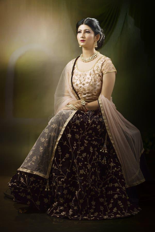 Portrait de jeune dame indienne dans l'usage traditionnel photographie stock libre de droits